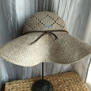 Roxy woven straw sunhat with leather tie